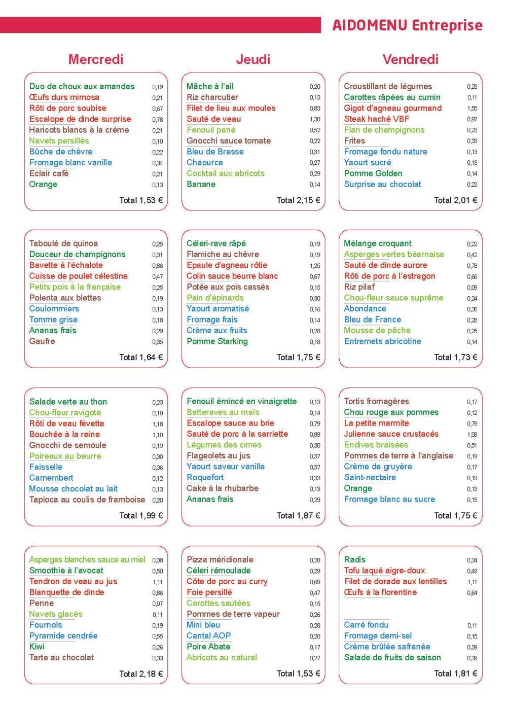 menu entreprise le cuisinier mars 2016 vici