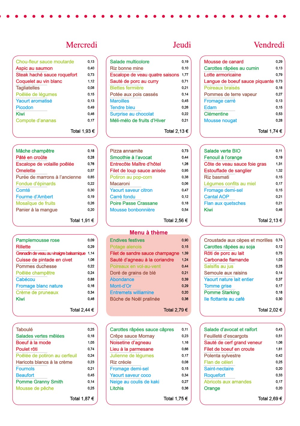 menu entreprise le cuisinier d cembre 2014 vici